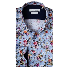 New 2020 Giordano Modern Fit Cotton Shirt - Multi Flower Print on Sky Blue