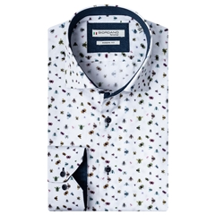 New 2020 Giordano Modern Fit Cotton Shirt - Small Insects Print White