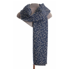Zelly Pleated Animal Print Scarf - Blue/Grey