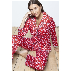 Cotton Real Lotus Blossom Cotton Sateen PJ Set - Crimson
