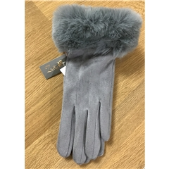 Zelly Faux Suede Gloves - Grey