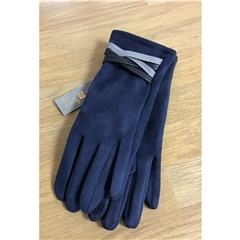 Zelly Faux Suede Gloves - Navy