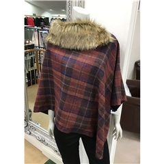 Failsworth Fur Tweed Cape - Burgundy