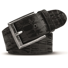 Meyer Handmade Crocodile Look Leather Belt - Black