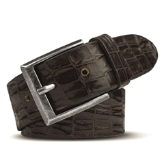 Meyer Handmade Crocodile Look Leather Belt - Brown