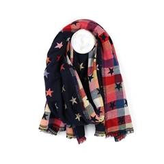 Zelly Reversible Star Scarf - Dark Navy