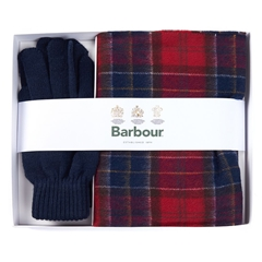 Barbour Mens Tartan Scarf and Glove Gift Set - Red / Navy