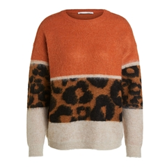 Oui Fluffy Jumper With Block Design - Light Camel