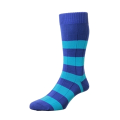 Scott Nichol by Pantherella Rugby Stripe Cotton Socks - Ely - Blue / Royal