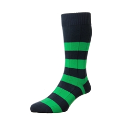 Scott Nichol by Pantherella Rugby Stripe Cotton Socks - Ely - Navy Green