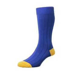 Scott Nichol by Pantherella Rib Cotton Socks - Oxford - Royal Yellow