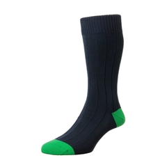 Scott Nichol by Pantherella Rib Cotton Socks - Oxford - Navy Green