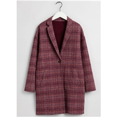 New 2020 Gant Handstitched Checked Coat - Port Red