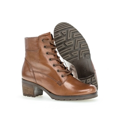 Gabor Heeled Lace Ankle Boot - Brown