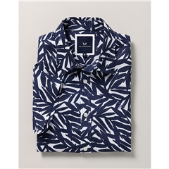Crew Men's Short Sleeve Linen Leaf Shirt - Navy/white