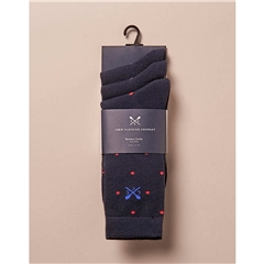 Crew Men's 3 Pack Bamboo Spot Socks - Navy