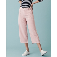 Crew Women's Washed Twill Wide Leg Trouser - Pink