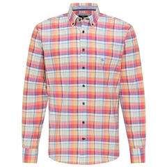 New 2021 Fynch Hatton Supersoft Cotton Shirt - Flame Madras Check