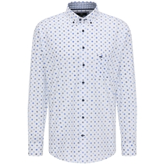 New 2021 Fynch Hatton Summer Print Cotton Shirt - Navy Dots