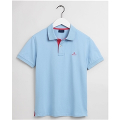 Gant Contrast Collar Pique Polo Shirt - Powder Blue