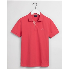 New 2021 Gant Contrast Collar Pique Polo Shirt - Paradise Pink