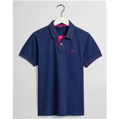 Gant Contrast Collar Pique Polo Shirt - Persian Blue