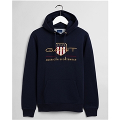 New 2021 Gant Archive Shield Hoodie - Evening Blue