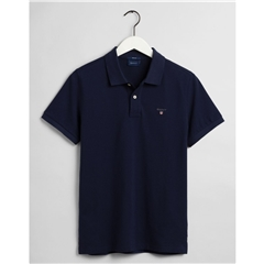 New 2021 Gant Contrast Original Pique Polo Shirt - Evening Blue