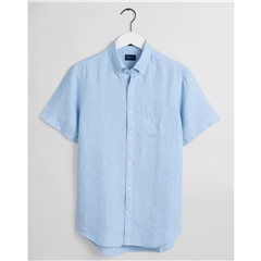 New 2021 Gant Regular Fit Short Sleeve Linen Shirt - Capri Blue