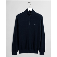 Gant Cotton Pique Half Zip - Evening Blue