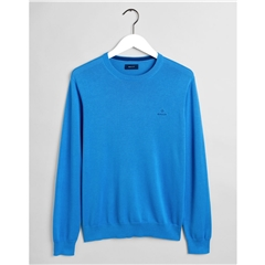 New 2021 Gant Classic Cotton Crew Neck Jumper - Pacific Blue
