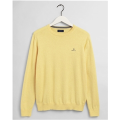 New 2021 Gant Classic Cotton Crew Neck Jumper - Brimstone Yellow