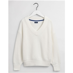 Gant Womens Ribbed V-Neck Jumper - Eggshell