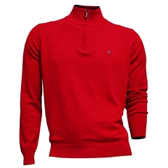New 2021 Fynch Hatton Cotton Half Zip Sweater - Hibiscus