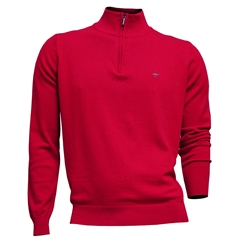 New 2021 Fynch Hatton Cotton Half Zip Sweater - Coral