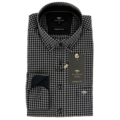 New 2021 Fynch Hatton  Supersoft Cotton Twill Shirt - Navy White Check