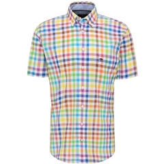 New 2021 Fynch Hatton  Supersoft Cotton Short Sleeve Shirt - Multicoloured Check
