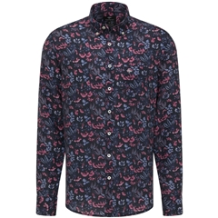 New 2021 Fynch Hatton Supersoft Linen Shirt - Thistle Flowers