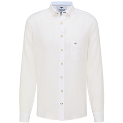 New 2021 Fynch Hatton Supersoft Linen Shirt - White