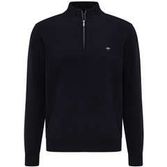 New 2021 Fynch Hatton Superfine Cotton Half Zip Sweater - Navy Night