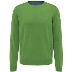 New 2021 Fynch Hatton Superfine 3 Ply Cotton Crew Neck Sweater - Cactus