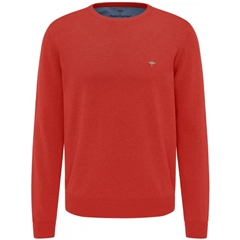 New 2021 Fynch Hatton Superfine 3 Ply Cotton Crew Neck Sweater - Lava