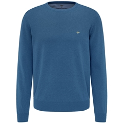New 2021 Fynch Hatton Superfine 3 Ply Cotton Crew Neck Sweater - Azure