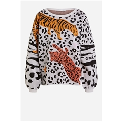 Oui Animal Print Sweater - Multi