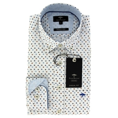 New 2021 Fynch Hatton Supersoft Print Shirt - Navy Earth
