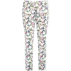 Taifun 7/8 Trousers with floral print - White