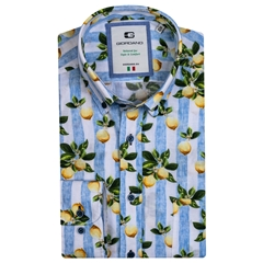 New 2021 Giordano Lemon Print Shirt - Light Blue