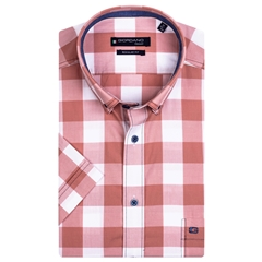 New 2021 Giordano Short Sleeve Big Check Shirt - Light Orange