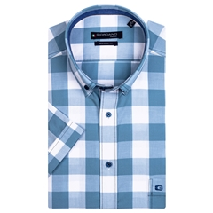 New 2021 Giordano Short Sleeve Big Check Shirt - Aqua Blue