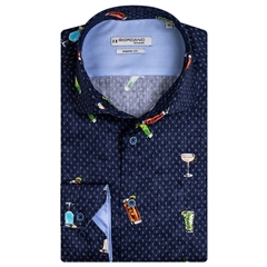 New 2021 Giordano Party Print Shirt - Navy